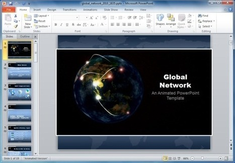 Global Network PowerPoint Template With Animated Globe | PowerPoint Presentation | template | Scoop.it