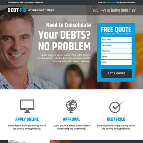 best debt advice service lead gen landing page design template | buy landing page design | Scoop.it