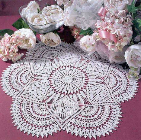 White Handmade Crochet Doily, Crochet Lace Doily, Roses, Cottage Chic, Country Style | Crochet Miracles Shop on Etsy | Scoop.it