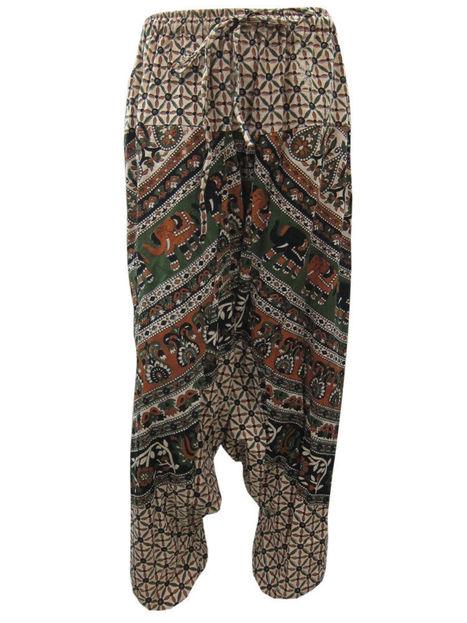 Boho Cotton Capri Pant Apricot Green Elephant Print Baggy Harem Pants | Bohemian Fashion | Scoop.it
