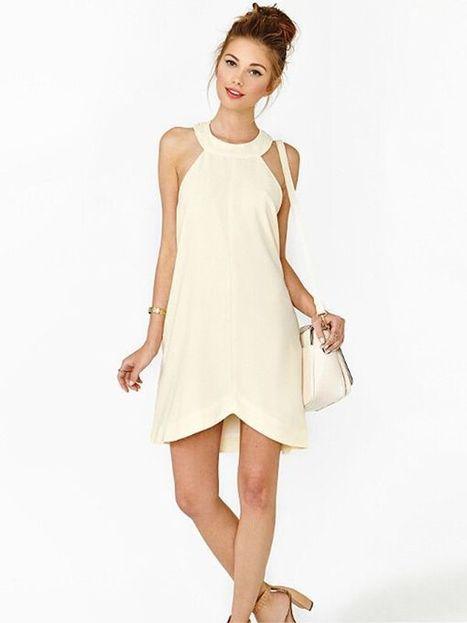 Beige Plain Mini Chiffon Summer Dress : KissChic.com | Kisschic Fashion Dresses | Scoop.it