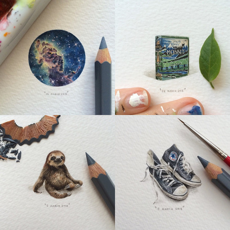 A New 100-Day #Miniature #Painting Project by Lorraine Loots Tackles Vintage Book Covers, the Cosmos, and Furry Animals | Luby Art | Scoop.it