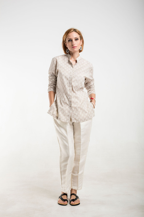 beige/white hand printed cotton shirt | 2014 Collection | Scoop.it