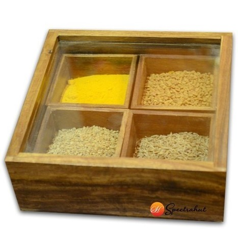 Wooden Spice Box - Sheesham wood Spice Box - Small | wooden Kitchen Products and Accessories | Scoop.it