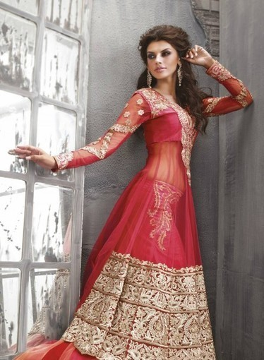 Abaya Style Red Net Anarkali with Multi, Patch GF7140230, Buy online with smile | Anarkali Suit | Scoop.it