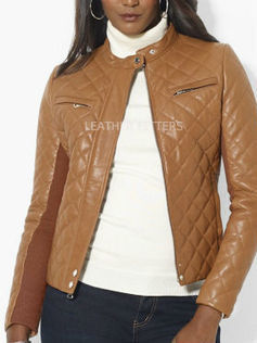 Quilted Style Women Ribbed Fall Leather Jacket | Ribbed Sleeves Women Leather Fall Jacket | AUTUMN FALL FOR WOMEN | Scoop.it