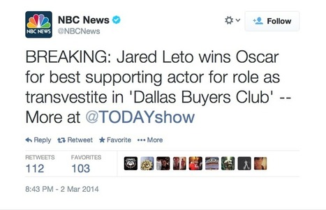 "NBC News: Jared Leto played ""transvestite"" in ""Dallas Buyers Club"" 