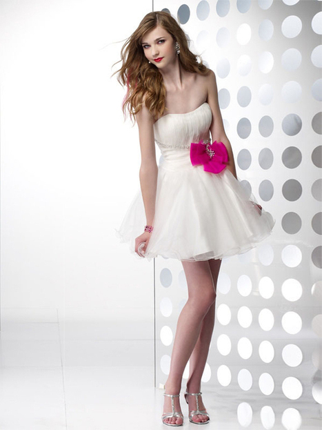 A-line Strapless Tulle Short/Mini Bow Cocktail Dresses at sweetquinceaneradress.com | SWEET 16 DRESSES | Scoop.it