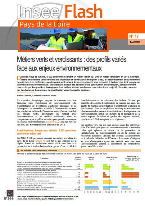 Insee > Métiers verts et verdissants: des profils variés face aux enjeux environnementaux | Observer les Pays de la Loire | Scoop.it