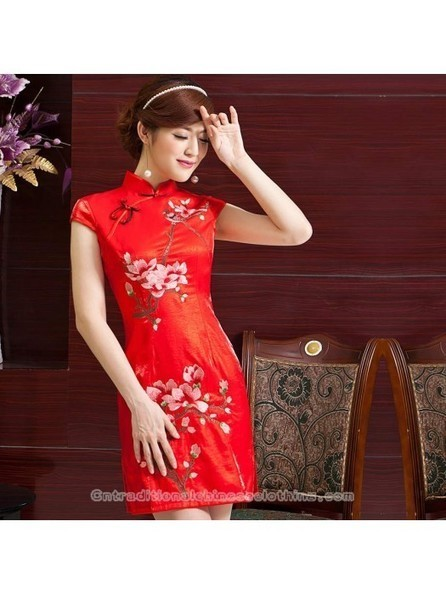 Embroidered magnolia floral cheongsam red Chinese wedding dress - Cntraditionalchineseclothing.com | Press Release from dressmebridal.co.uk | Scoop.it