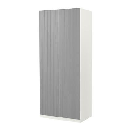 Pax armoire 2 portes risdal gris moyen blanc for Porte parapluie ikea