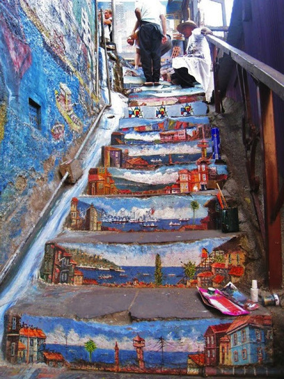 G A N T I L L A N O: STREET ART UTOPIA COLORFUL STAIRS | Global Street Art | Scoop.it