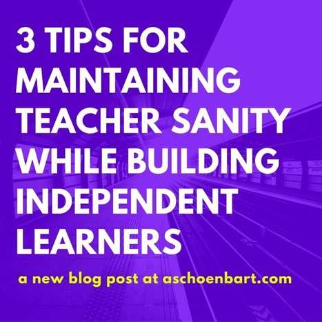 The Schoenblog: 3 Tips for Maintaining Teacher Sanity While Building Independent Learners | BHS - Articles of Interest | Scoop.it