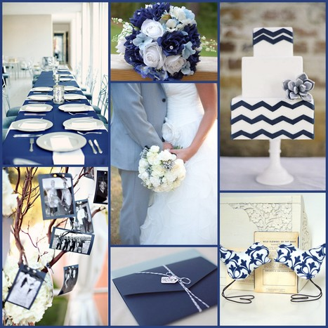 Wedding Colour Combinations - White, Navy & Dusty Blue | Wedding Ideas | Scoop.it
