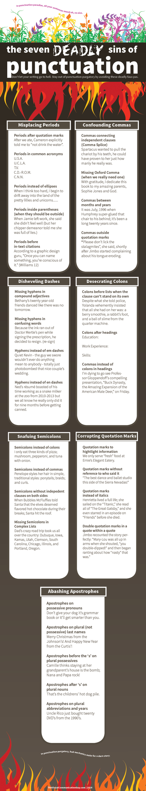 The Seven Deadly Sins of Punctuation - Infographic | Education | Scoop.it