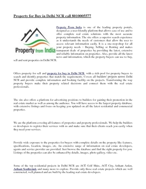 property for buy in delhi ncr | Property India | Scoop.it