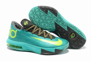 "Nike KD VI 6""Bamboo"" Atomic Turquoise Electric Yellow Volt Mens Size Shoes 