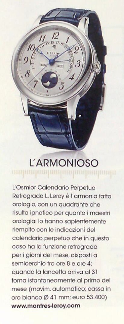 LEROY OSMIOR - L'Armonioso - in BUSINESS PEOPLE | Montres L.Leroy | L.Leroy Watches | Scoop.it