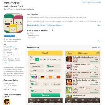 Free iOS App - We Want Apps (Find educational apps) - UCET | Young Adult and Children's Stories | Scoop.it