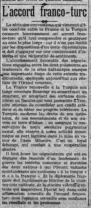 12 avril 1914 : à propos de l'accord entre la France et la Turquie | Rhit Genealogie | Scoop.it