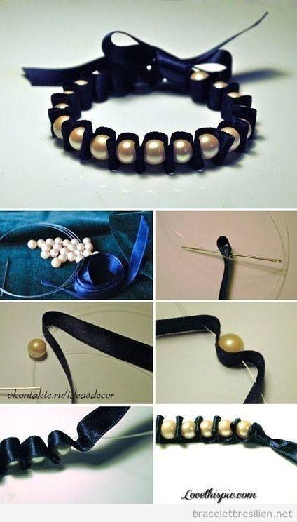 Comment fabriquer un bracelet DIY avec ribbon en satin et perles, tuto | Bracelets Brésiliens | Tout sur comment réaliser bacelets brésiliens et bracelets en macramé | Bricolage pour mes enfants | Scoop.it
