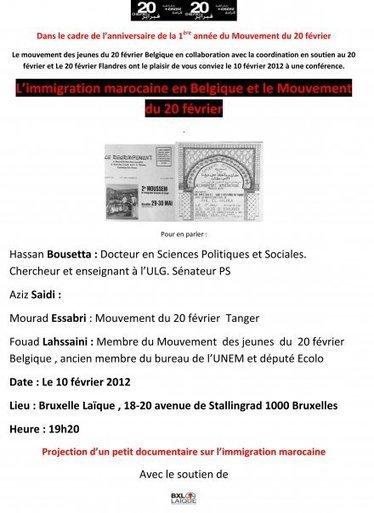 Conférence : L'immigration marocaine en Belgique et le 20 février   Occupy Belgium   Scoop.it