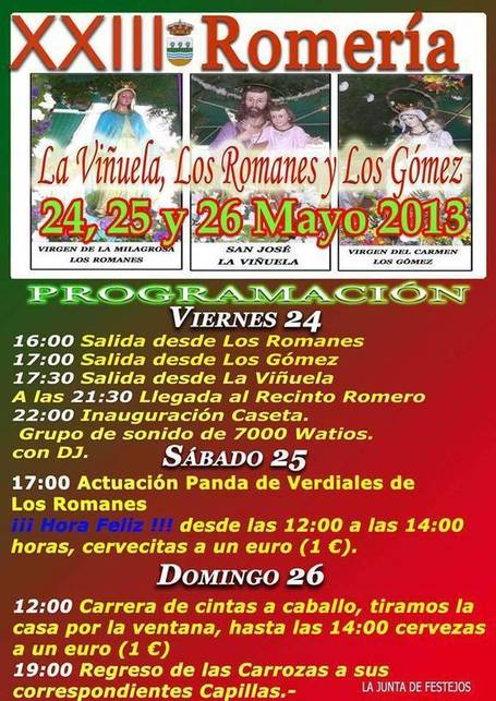 XXIII Romería de La Viñuela, Los Romanes y Los Gómez - La Viñuela - 24, 25 y 26 de Mayo | Seo, Social Media Marketing | Scoop.it