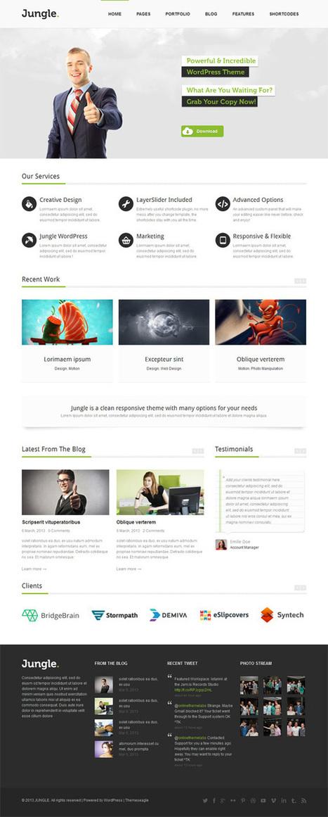 Jungle, WordPress Responsive Green Business Theme | WP Download | Wordpress Templates | Scoop.it