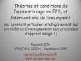 Th ories et conditions de l apprentissage en EPS, et interventions de l enseignant   ou comment articuler intelligibleme | Théories de l'apprentissage | Scoop.it
