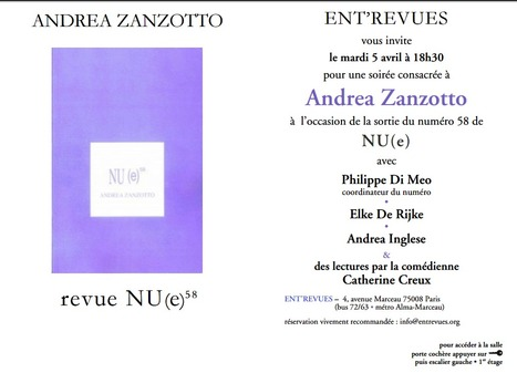 Mardi 5 avril 2016 :: soirée poétique Andrea Zanzotto (Paris) | Poésie Elémentaire | Scoop.it