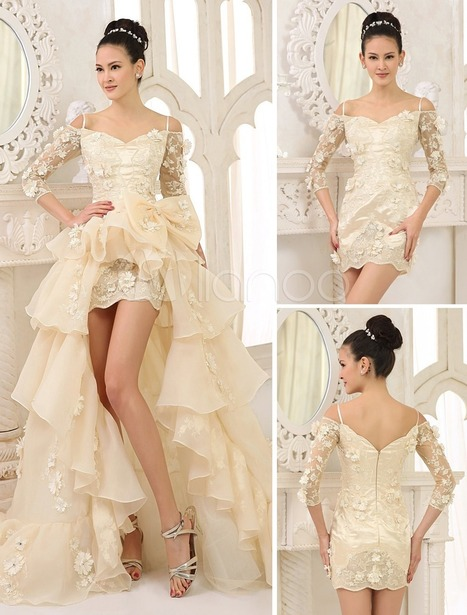 Champagne A-line Off-The-Shoulder Spaghetti Ruffles Detachable Panel Train Wedding Gown | wedding and event | Scoop.it