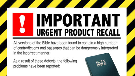 Product recall issued for Bible amid health and safety concerns | Modern Atheism | Scoop.it