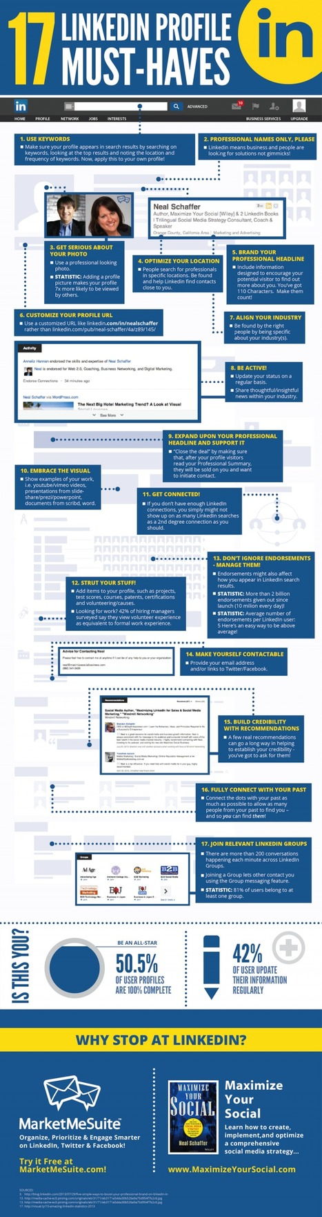 17 LinkedIn Profile Must-Haves [infographic] | Time to Learn | Scoop.it