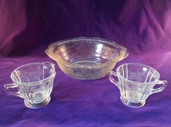 Federal Glass Creamer, Sugar Bowl and Serving Bowl in Madrid Pattern | Vintage Passion | Scoop.it