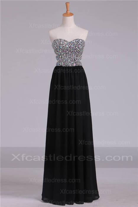 2016 Beaded Long Black Prom Dresses with Cutouts LOXF292 | women fashion dresses | Scoop.it