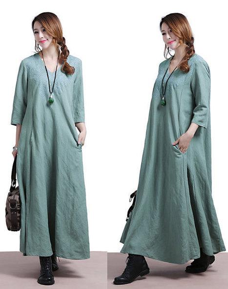Light green embroidery loose robe sleeve dress / temperament V-neck linen dress | Ladies Fashion | Scoop.it