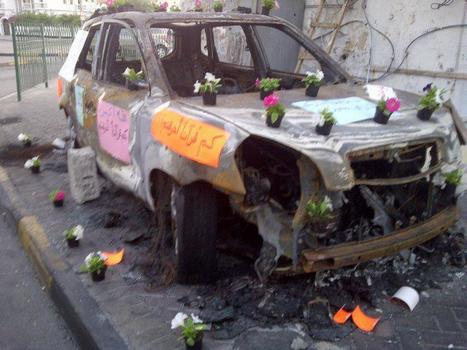 Pro-Regime Thugs burn car in BaniJamra:  Democratic reformers turn it into a garden commemorating SF & Thug foolishness! | Human Rights and the Will to be free | Scoop.it
