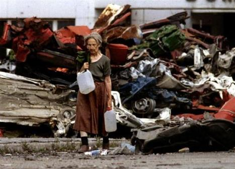 An elderly woman carrying fresh water back to her home through sniper fire | The Cellist of Sarajevo (Siege of Sarajevo) | Scoop.it