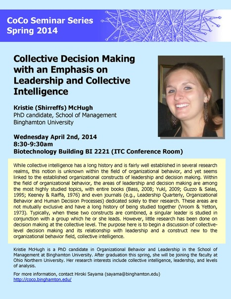 Next CoCo seminar by Kristie McHugh on Wednesday April 2nd | Center for Collective Dynamics of Complex Systems (CoCo) | Scoop.it
