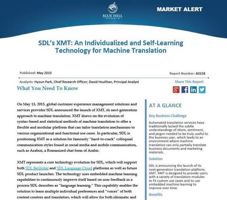 SDL's XMT: An Individualized and Self-Learning Technology for Machine Translation | Blue Hill Research | ICT in Assessment | Scoop.it