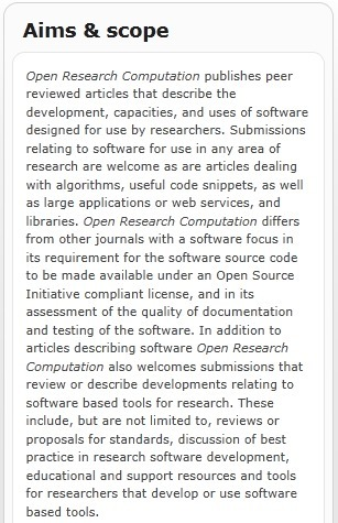 Open Research Computation journal: Waiting for your submissions ... | Open Research & Learning | Scoop.it