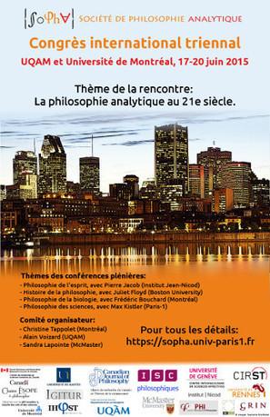 Congrès international triennal 2015 de la SoPhA (Société de Philosophie Analytique) - Montréal, 17-20 juin | Philosophie en France | Scoop.it