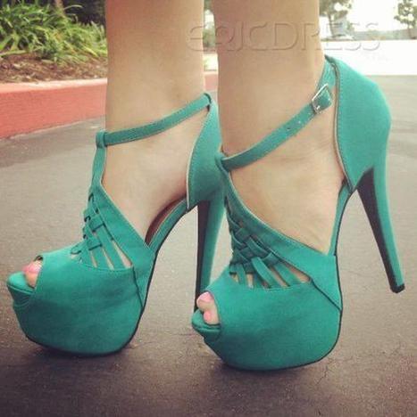 $ 73.99 Most Popular Cheap Green Peep Toe Multi Strap Stiletto Heel Pumps | Fashion | Scoop.it