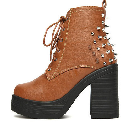 Wholesale Ladies leather boots thick heel rivet shoes SY-C1800 brown - Lovely Fashion | Chic summer streetstyle(sandals) | Scoop.it