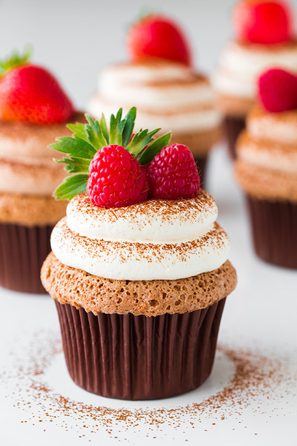Chocolate Angel Food Cupcakes with Chocolate Cream Cheese Whipped Cream | Food | Scoop.it