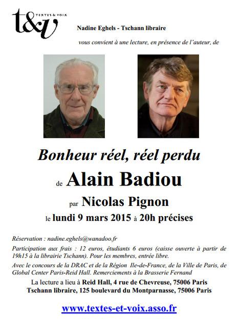 Lundi 9 mars 2015  ::  rencontre avec Alain Badiou chez Tschann Libraire (Paris) | TdF  |   Culture & Société | Scoop.it