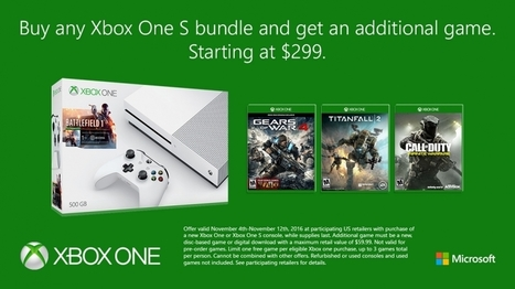 Get an Additional Game with the Purchase of Any Xbox One S Bundle, Starting at $299 | Xbox - CompuSpace | Scoop.it