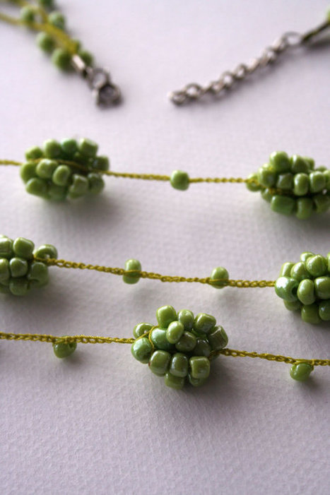 Bright Chartreuse Three Layer Bead Crochet Necklace | Beadweaving | Scoop.it