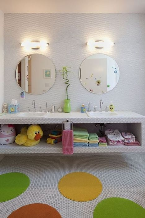 30 Playful And Colorful Kids' Bathroom Design Ideas | Designing Interiors | Scoop.it