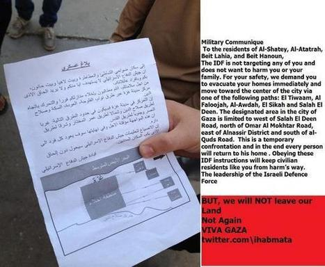 Nov23: TRANSLATED #English version of flyer #Israel dropped on to Gaza | Egyptday1 | Scoop.it